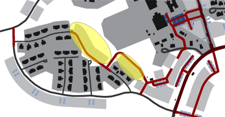 Figur 4, Inom de gula cirklarna föreslås ingen byggnation. Marken föreslås istället allokeras till grönområde.