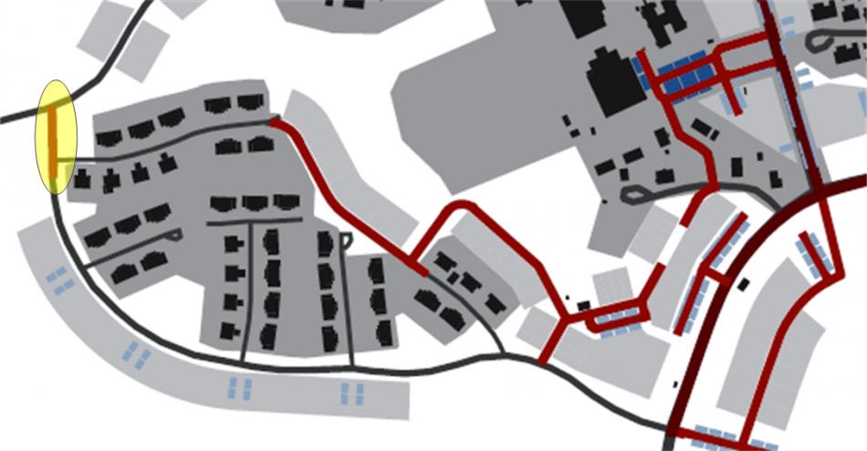 Figur 6, nyplanerad väg för att ansluta Sunnersta till Målstavägen
