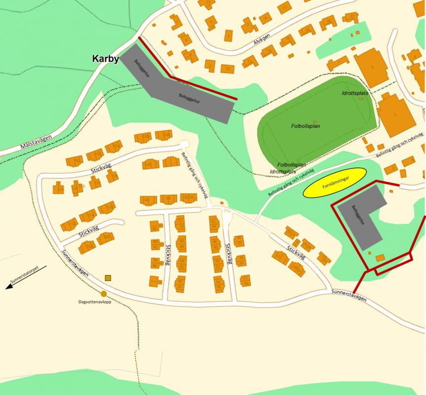 Figur 3, förslag till ändrad vägsträckning och nybyggnation (grått)