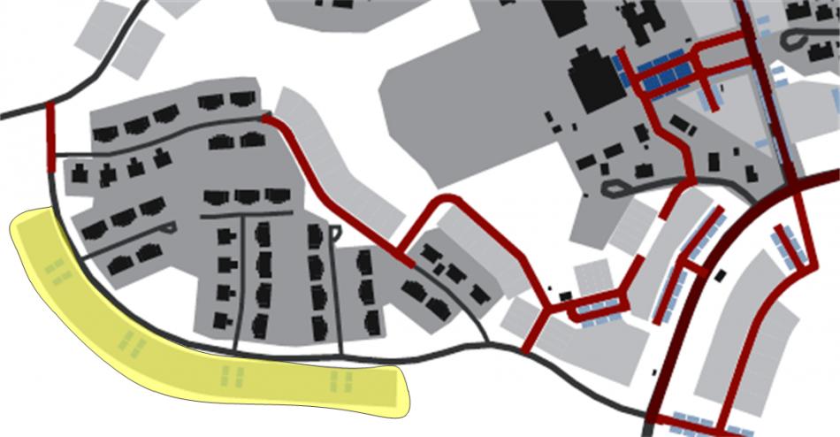 Figur 5. planerad nybyggnation utmed Sunnerstavägen visas med gul färg,