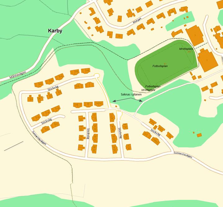 Figur 1, översiktsbild över Sunnersta hur det ser idag. Observera att kartan skiljer sig mot den som är redovisad i översiktsplanen. Bland saknas gång relevanta gång- och cykelvägar i underlaget