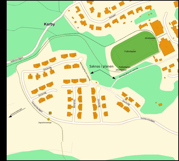Figur 1, översiktsbild över Sunnersta hur det ser idag. Observera att kartan skiljer sig mot den som är redovisad i översiktsplanen. Bland annat saknas relevanta gång- och cykelvägar i underlaget.