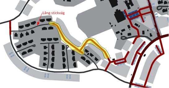 Figur 2, nybyggda vägar i området enligt kommunens förslag markerat med gult. Vägen är delvis ritad på samfällighetens mark.