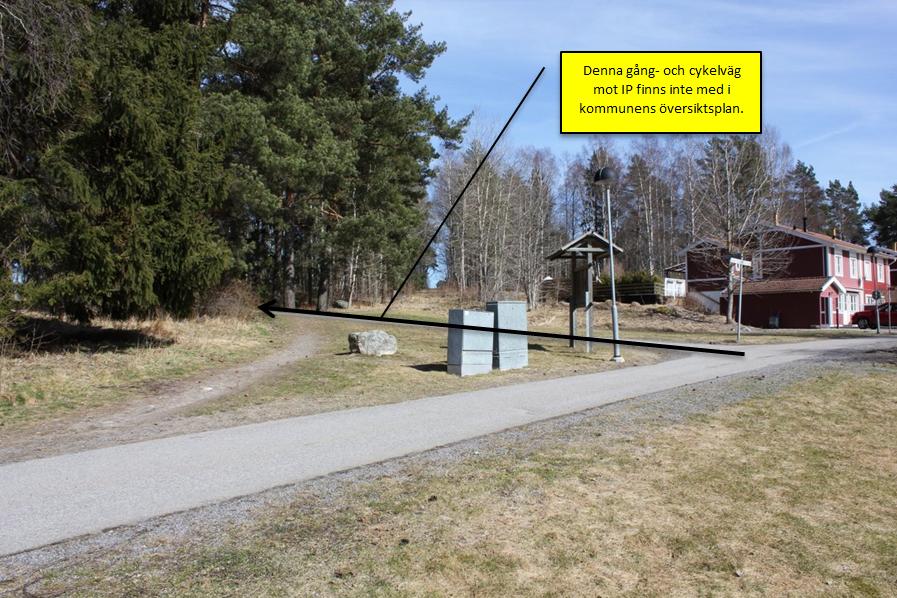 Figur 3, Enligt kommunens förslag blir det här en vägkorsning. Idag finns en sådan, men med ett helt annat syfte.