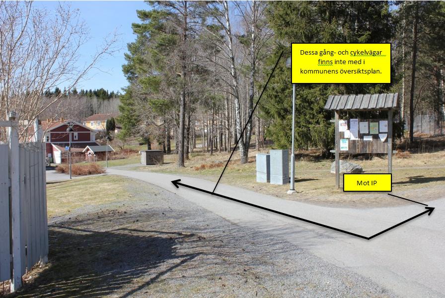 Figur 4, Dessa gång och cykelvägar finns inte med i kommunens översiktsplan.