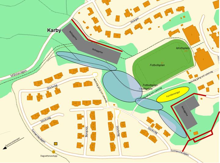 Figur 9, Blått markerar områden som i planen föreslås förbli orörd mark. Observera även att elljusspåret kan samexistera med byggnationen enligt detta förslag.